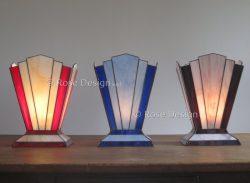 Zodiac tafellampen hier in drie kleuren combinaties.